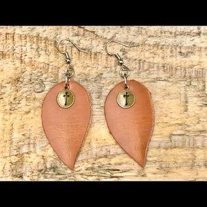 Handmade leather teardrop earrings